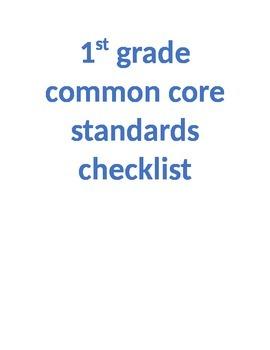 1st grade common core checklist