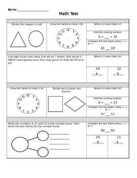 1st grade common core math assessment