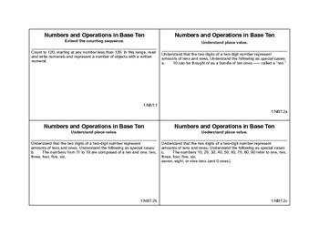 1st grade common core math cards