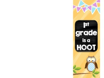 1st grade is a HOOT Welcome Back Pamphlet for Parents at Open House