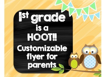 1st grade is a HOOT Welcome Back Pamphlet for Parents at O