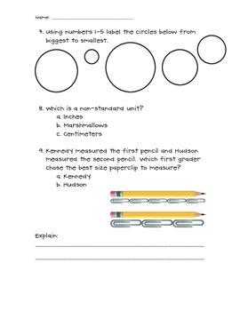 1st grade measurement assessment