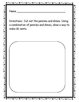 1st grade money performance assessment