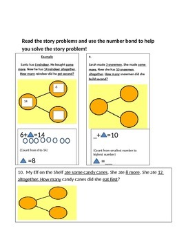 1st grade number bond, addition with 3 addends, and word problem homework