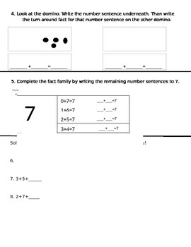 1st grade number bond, fact family, ways to make 7, and  addition math asessment