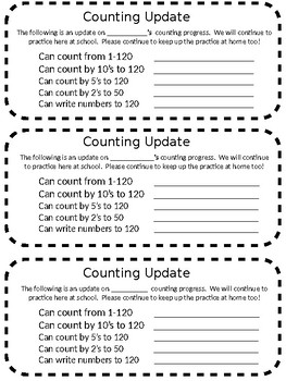 1st grade oral counting update