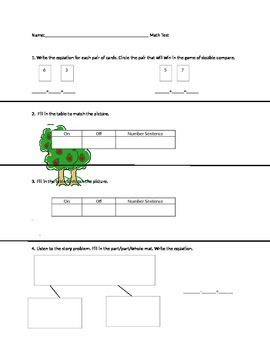 1st grade part part whole map and addition assesment