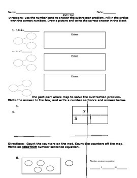 1st grade part part whole, number bond, and addition assessment