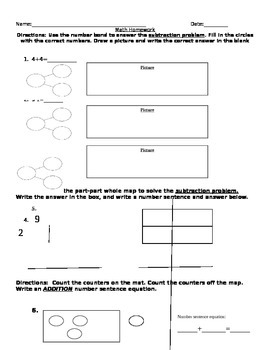 1st grade part part whole, number bond, and addition homework