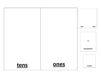 1st grade place value/expanded form partner game template