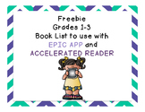 1st -3rd grade reading book list to use with EPIC APP