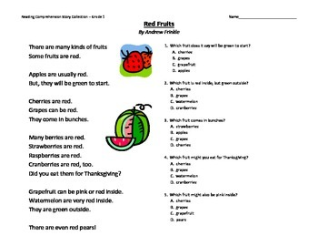primary grades K-2 reading comprehension story pack - fruit baskets