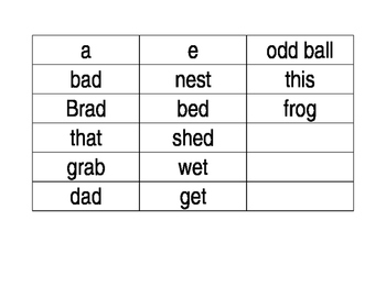 1st grade spelling list sort
