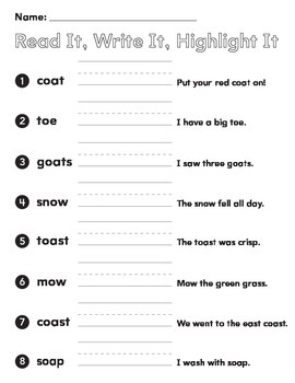 1st grade spelling words vowel teams oa ow oe read it write it  highlight words