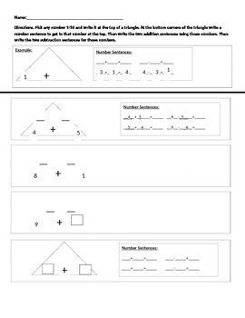 1st grade triangle addition math assessment