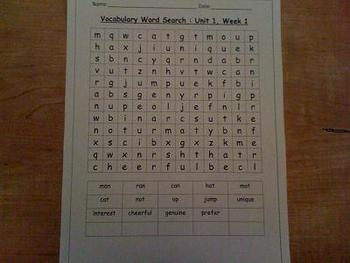 1st grade vocabulary word search, treasures unit 1)