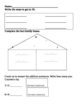 1st grade ways to make 10, fact family, and counting on assessment