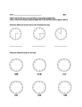 1st or 2nd Grade Common Core Math Worksheets: Time  ( 1.MD.B.3, 2.MD.C.7)