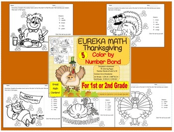 1st or 2nd Grade Thanksgiving Color by Number Bond / Eureka Math