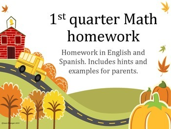 1st quarter Math homework (directions in English and Spanish)
