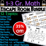 Math Escape Room Bundle 1st 2nd 3rd Grade (Multiplication, Word Problems, etc)