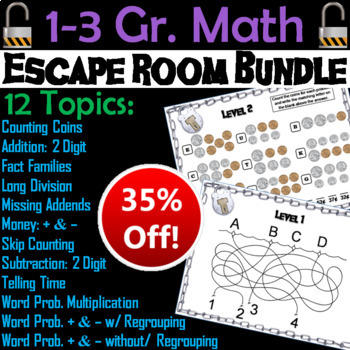 Math Escape Room Bundle 1st 2nd 3rd Grade (Multiplication, Word Problems, etc)