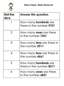 1st/2nd grade Place Value Dice Games: 18 games- id value/expanded form