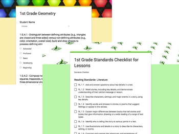1st Grade Common Core Google Forms Checklists and Student Rubrics