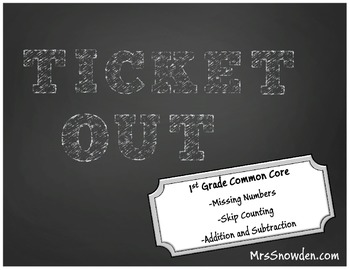 Ticket Out 1st Grade Math Common Core Assessment: Counting