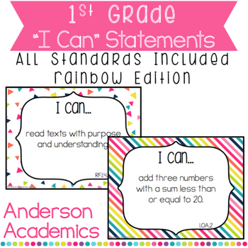"""1st Grade """"I Can"""" Statements Bundle: All Standards - Rainbow Colors"""