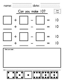 1st_2nd Grade - Make 10 with Addition & Subtraction (cut and paste)