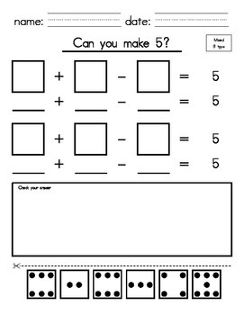 1st_2nd Grade - Make 5 with Addition & Subtraction (cut and paste)