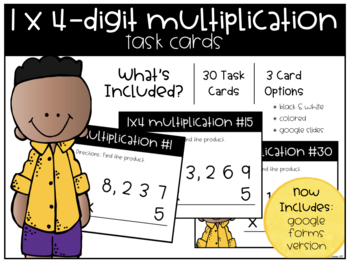 1x4-Digit Multiplication Task Cards