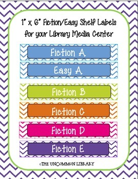 "1""x6"" Fiction and Easy Chevron Shelf Labels"