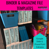 Binder & Magazine File Editable Templates & Labels