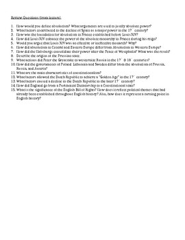 2.1 Absolutism and Constitutionalism - Content Review Sheet