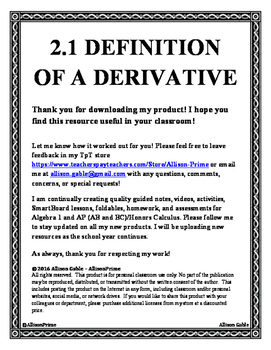 2.1 Definition of a Derivative