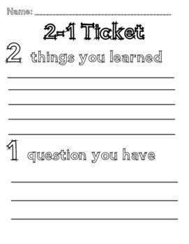 2-1 Exit Ticket