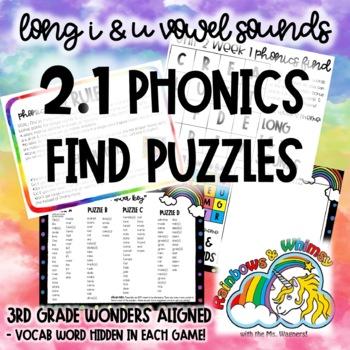2.1 Phonics Find for Long U & I Sounds (aligned to 3rd Grade Wonders 2.1)