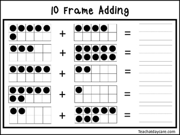 2 10 Frame Adding Worksheets. Preschool-KDG Math.