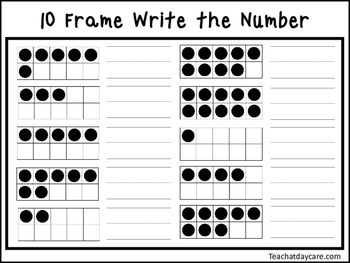 2 10 Frame Write the Number Worksheets. Preschool-KDG Math.