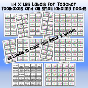 2,108 LABELS! Color, B/W, Cursive, Manuscript. Use for Toolboxes & the Classroom