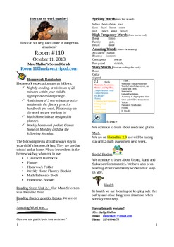 2.2.1 Tara and Tiree Reading Street 2nd Grade Newsletter U