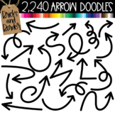 2,240 Doodle Arrows Accent Clipart in 56 Colors Bold and Skinny