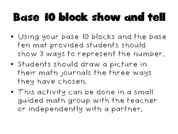 2.2A  Base Ten Block Show and Tell