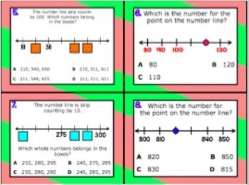2.2F: Naming Whole Numbers on a Number Line TEKS Aligned Task Cards (GRADE 2)