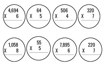 2,3,4 Digit Multiplication by 1 Digit Winter Wreath