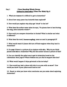 2-3 Day Close Reading Activities for Living in Antarctica
