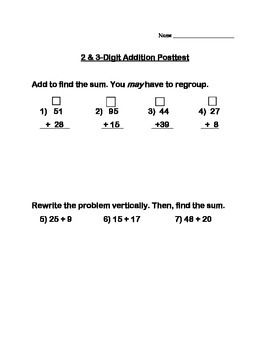 2 & 3-Digit Addition Assessment/Posttest