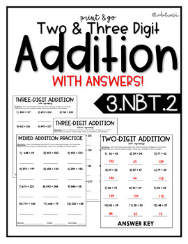 2 & 3 Digit Addition Practice - Print and Go (3.NBT.2)